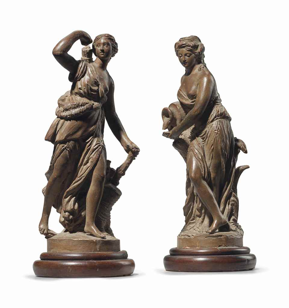 TWO TERRACOTTA FIGURES AN ALLE