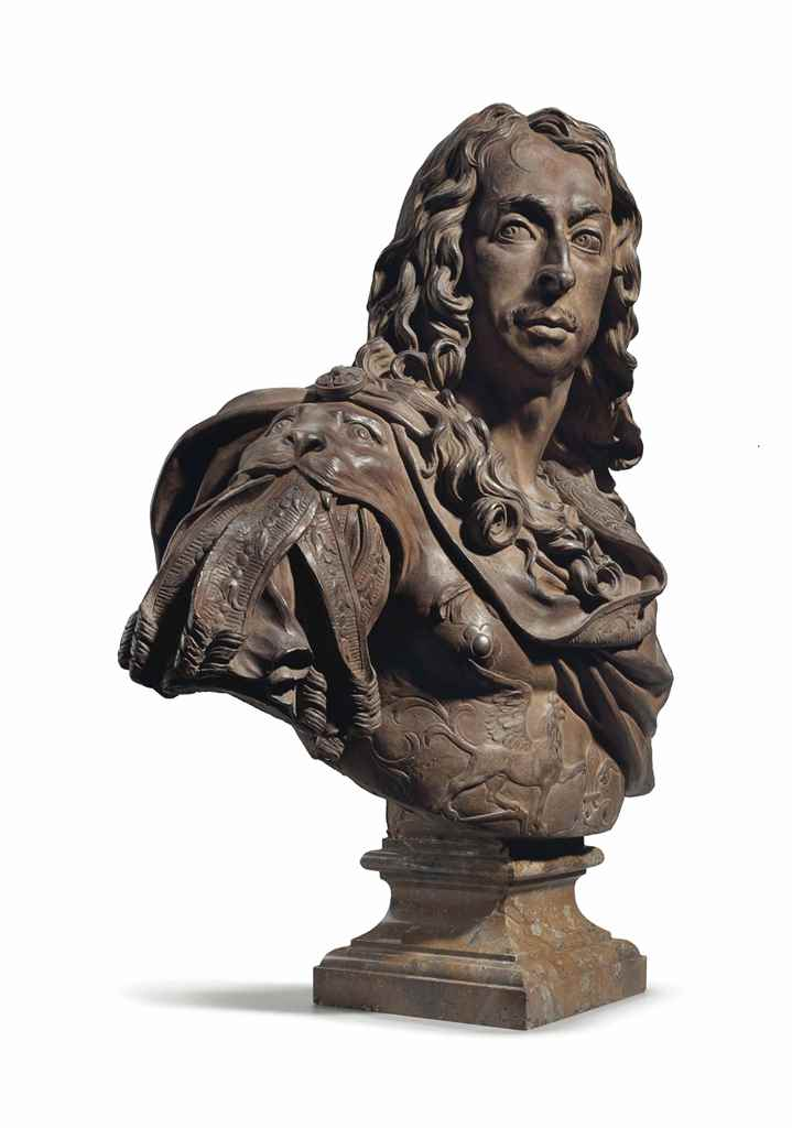 A TERRACOTTA BUST OF LOUIS II