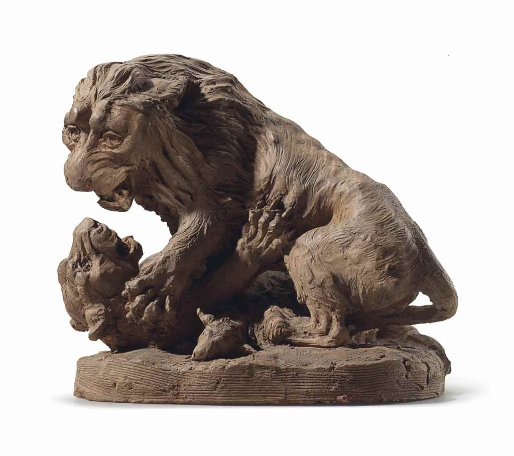 A TERRACOTTA OF A MALE LION AT