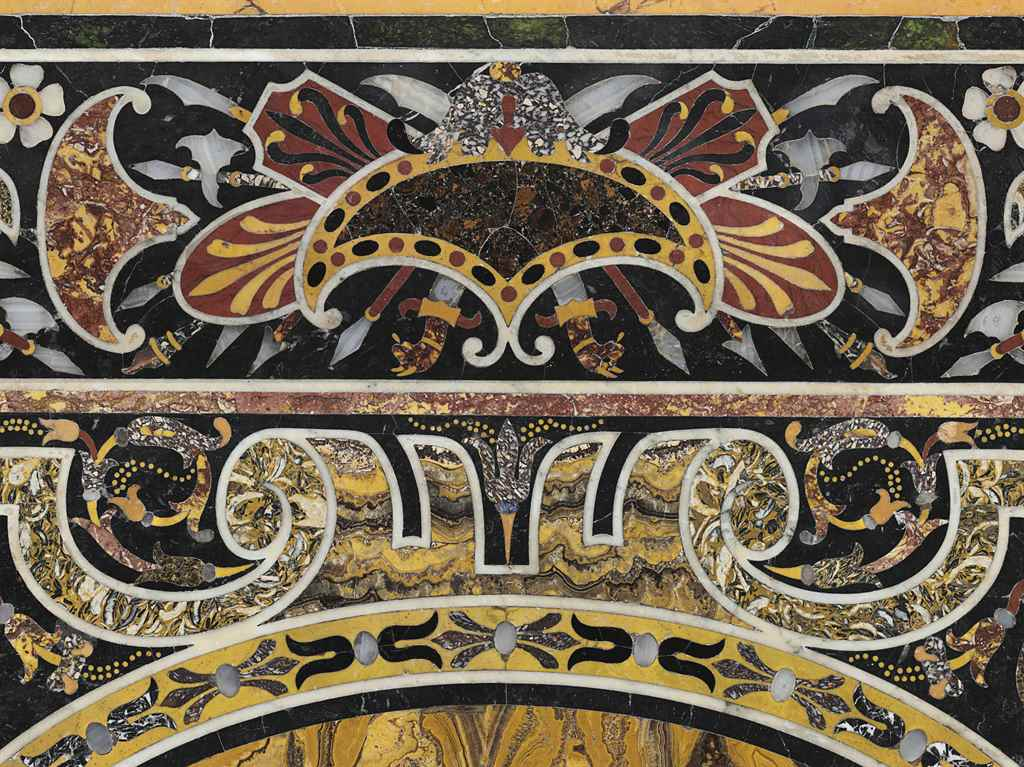 AN ITALIAN INLAID MARBLE TOP