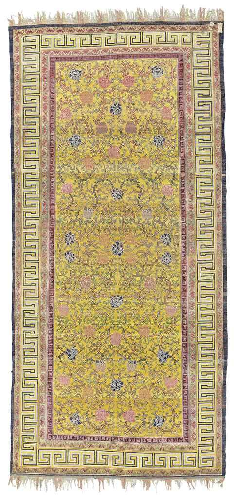 A Silk East Turkestan Carpet Probably Kashgar 18th