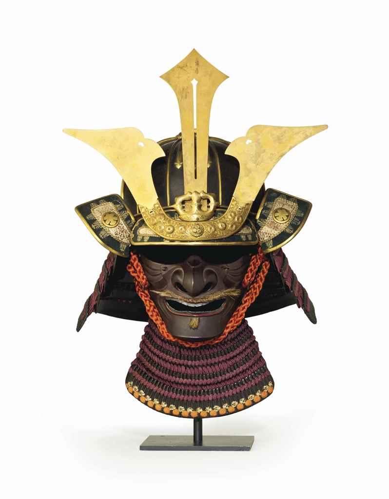 A sujibachi kabuto (ridged hel