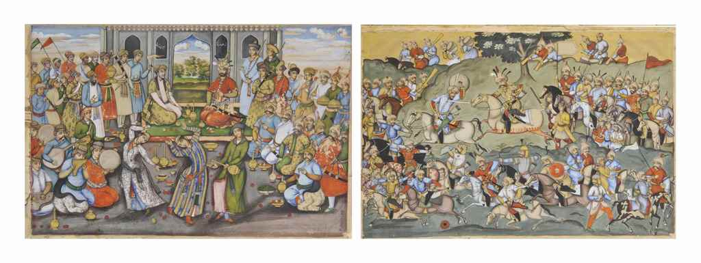 two illustrations inspired by the chehel sutun murals the battle of chaldiran and shah abbas