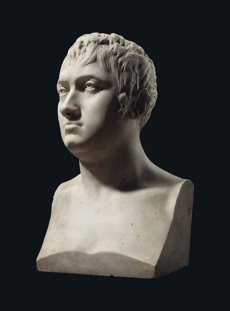 A WHITE MARBLE BUST OF MARÉCHA