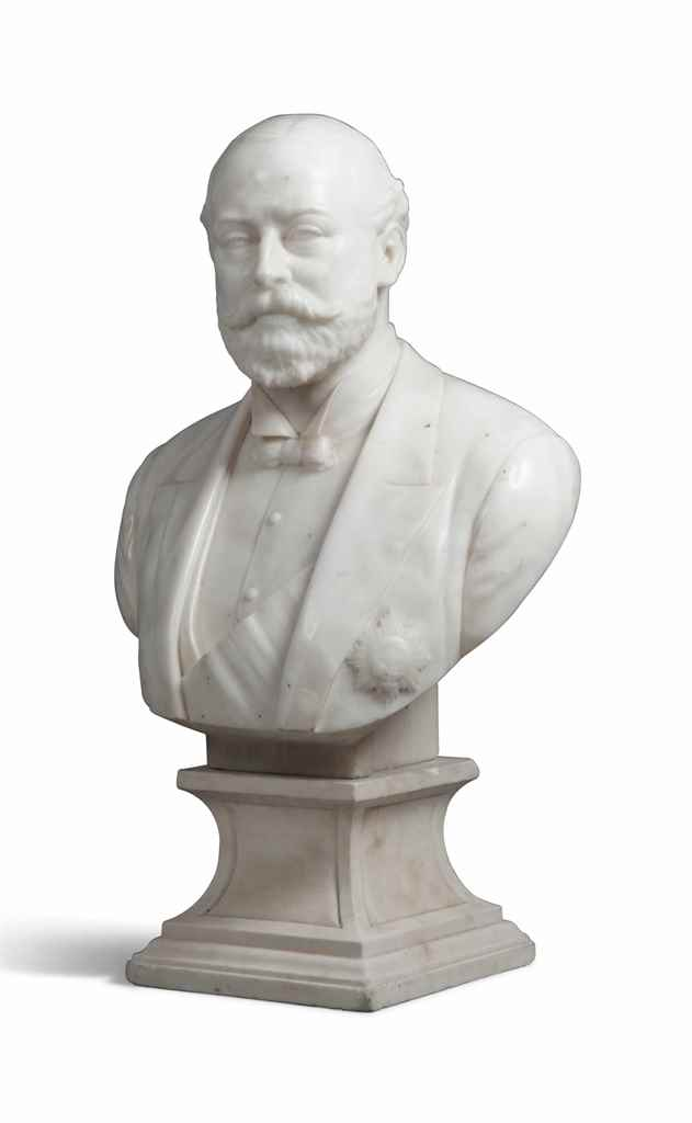 A WHITE MARBLE BUST OF ALBERT