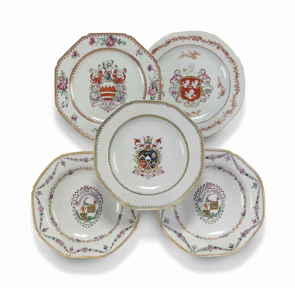 FIVE CHINESE ARMORIAL OCTAGONA