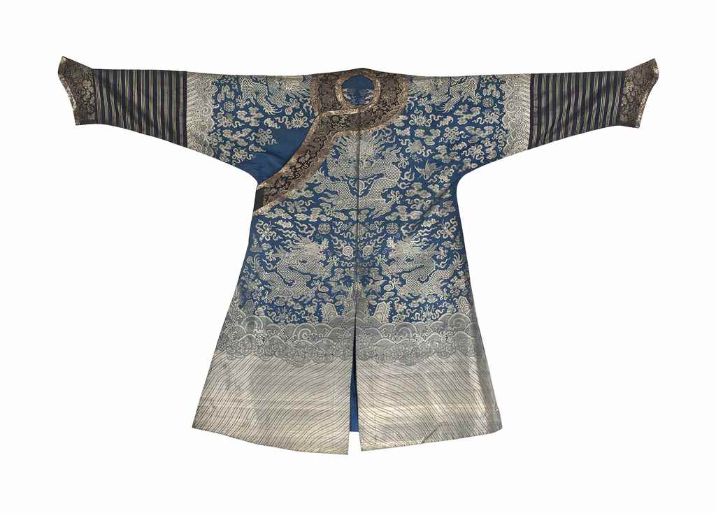 A BLUE-GROUND SILK 'DRAGON' RO