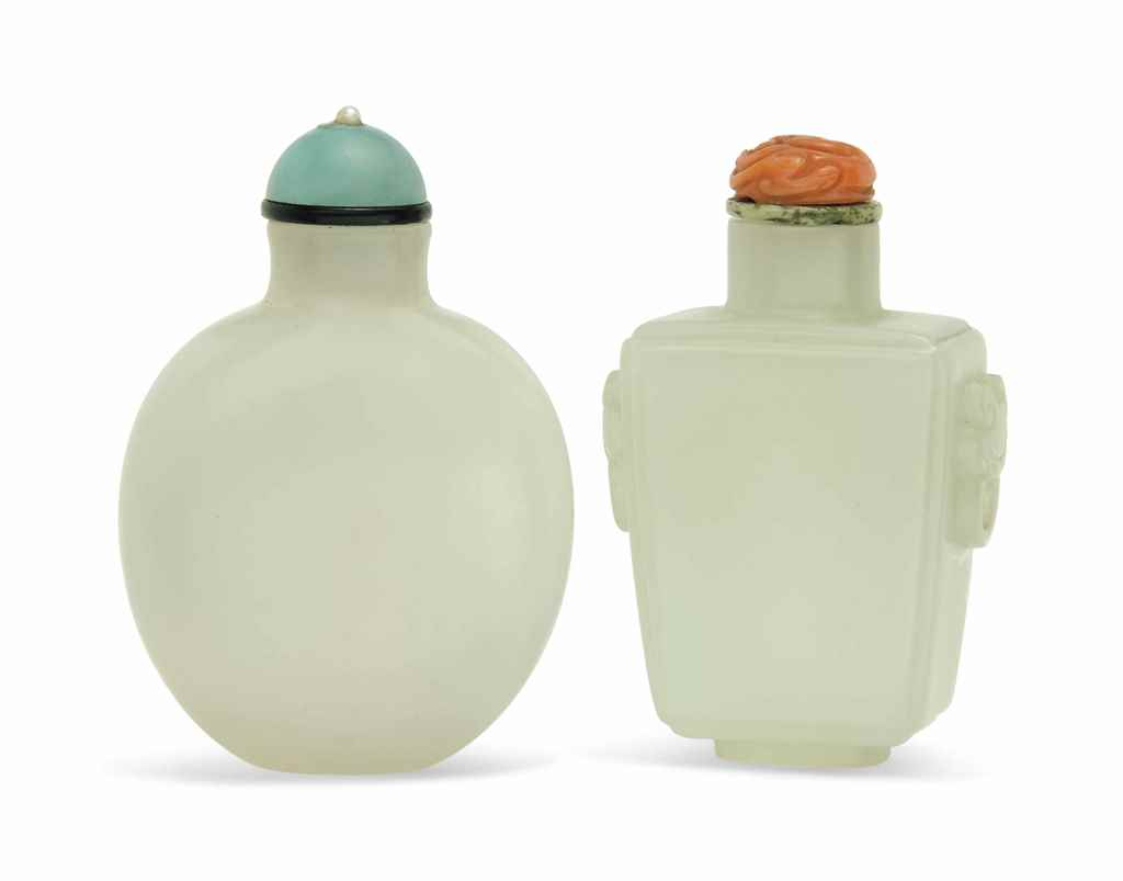 TWO WHITE JADE SNUFF BOTTLES