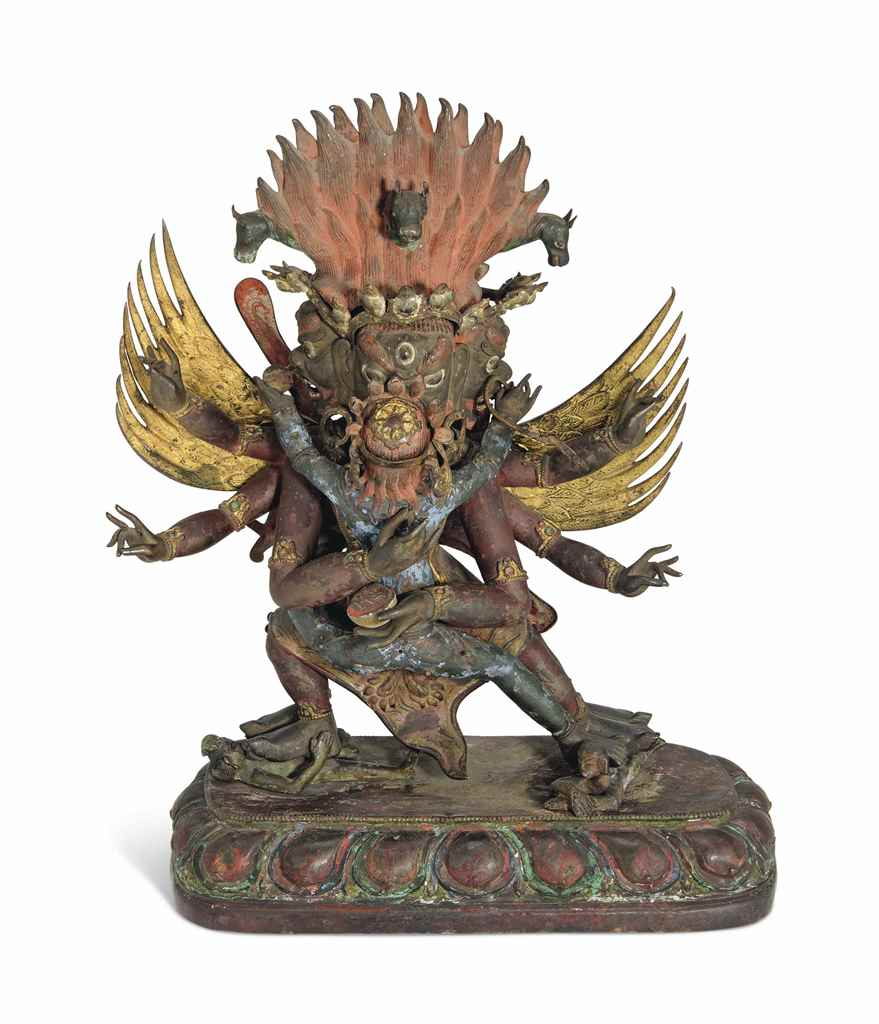 A LARGE COPPER REPOUSSE FIGURE