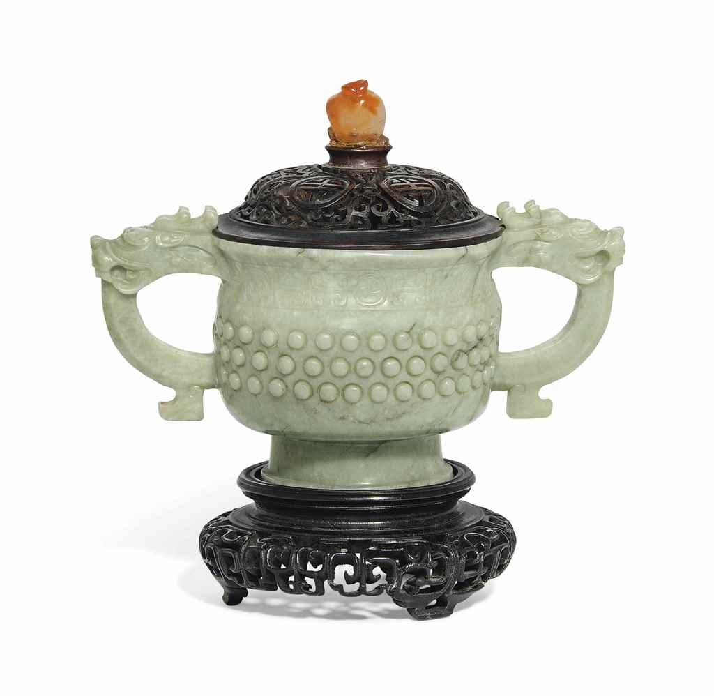 A PALE GREY JADE CENSER AND WO