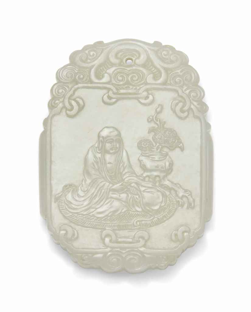 A WHITE JADE 'LUOHAN' PLAQUE