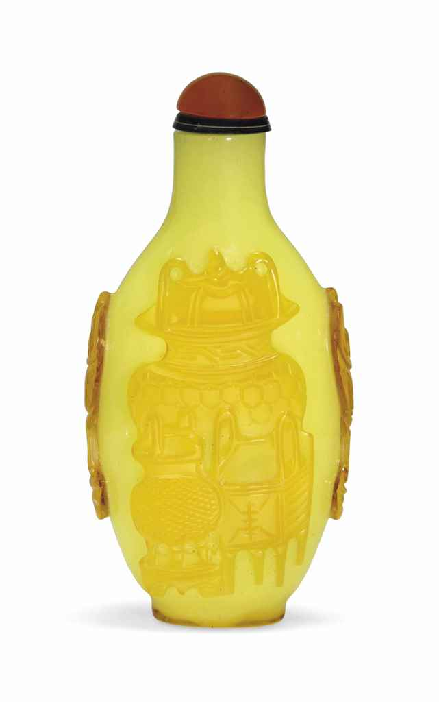 A YELLOW GLASS OVERLAY SNUFF B