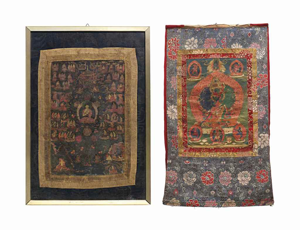 TWO THANGKAS DEPICTING BUDDHA