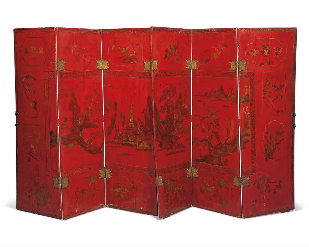A CHINOISERIE RED, BLACK AND G