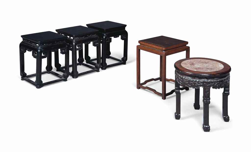 FIVE CHINESE HARDWOOD STOOLS O