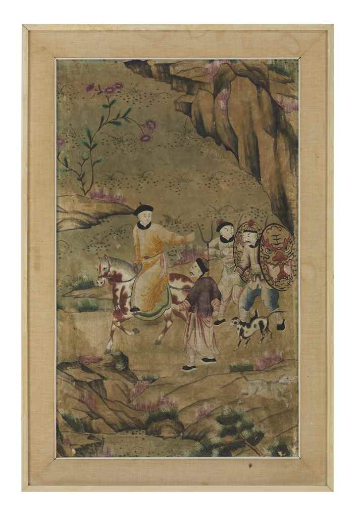 THREE CHINESE PAINTED WALLPAPE