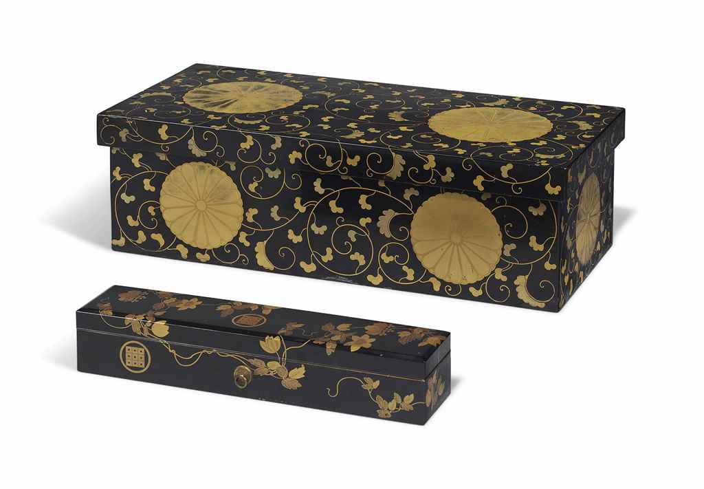 TWO JAPANESE LACQUER BOXES AND