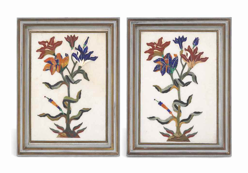 A PAIR OF PIETRA DURA PANELS