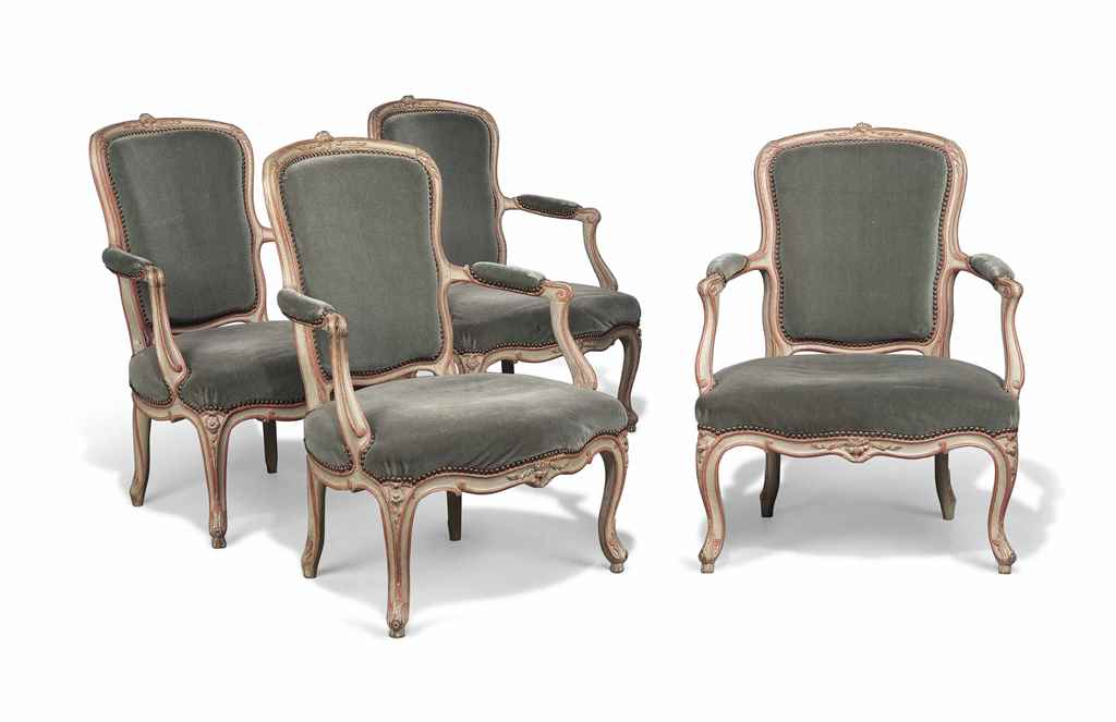 A SET OF FOUR LOUIS XV PALE GR