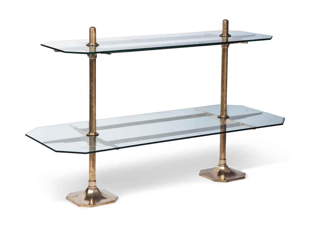 A GLASS AND BRASS TWO-TIER ETA