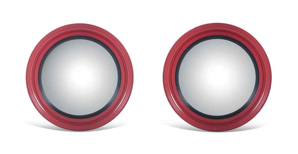 A PAIR OF LARGE RED LACQUERED