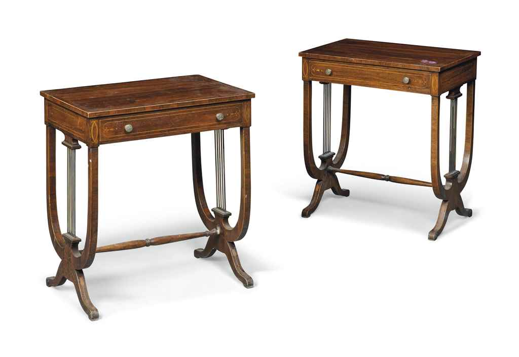 A PAIR OF ENGLISH ROSEWOOD AND