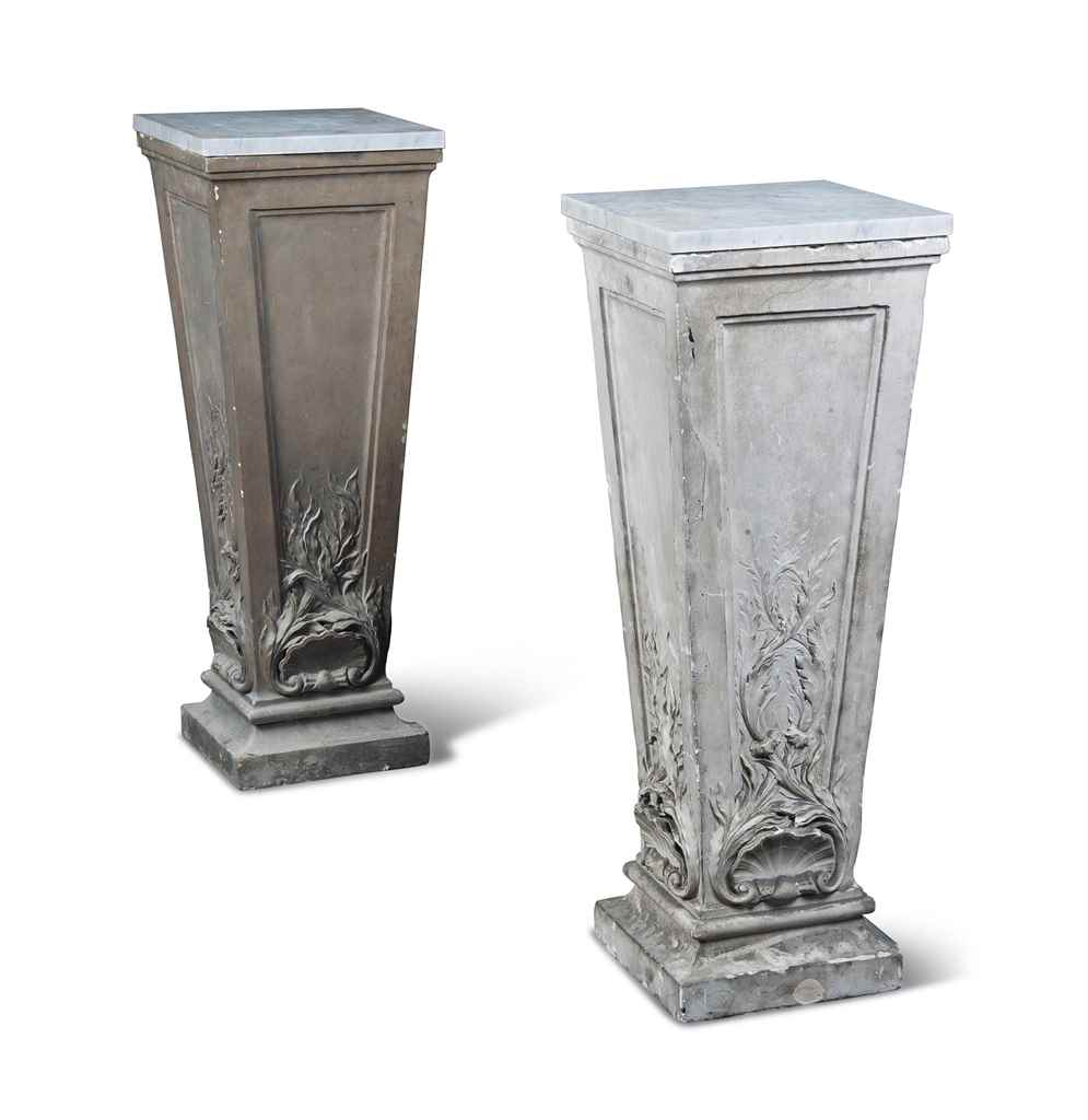A PAIR OF FRENCH PLASTER PEDES