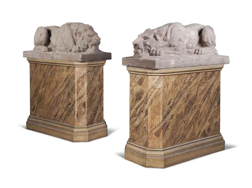 A PAIR OF SANDSTONE MODELS OF
