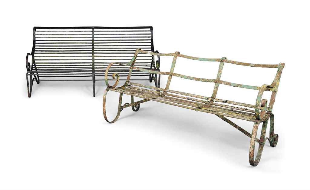 TWO ENGLISH WROUGHT-IRON BENCH