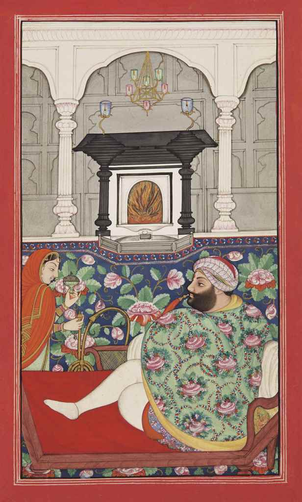 A RAJA ENJOYS A HUQQA DURING A
