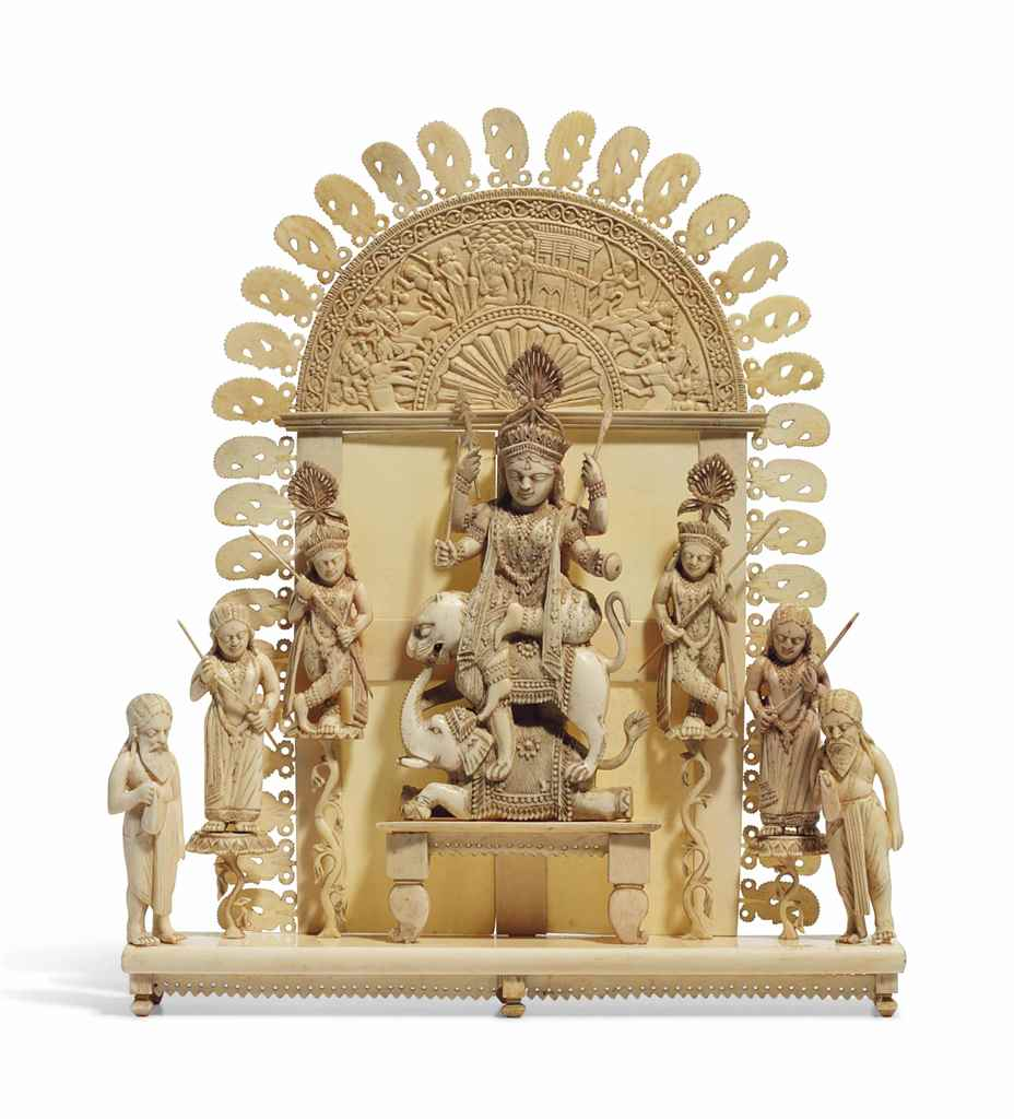 AN IVORY GROUP DEPICTING DURGA