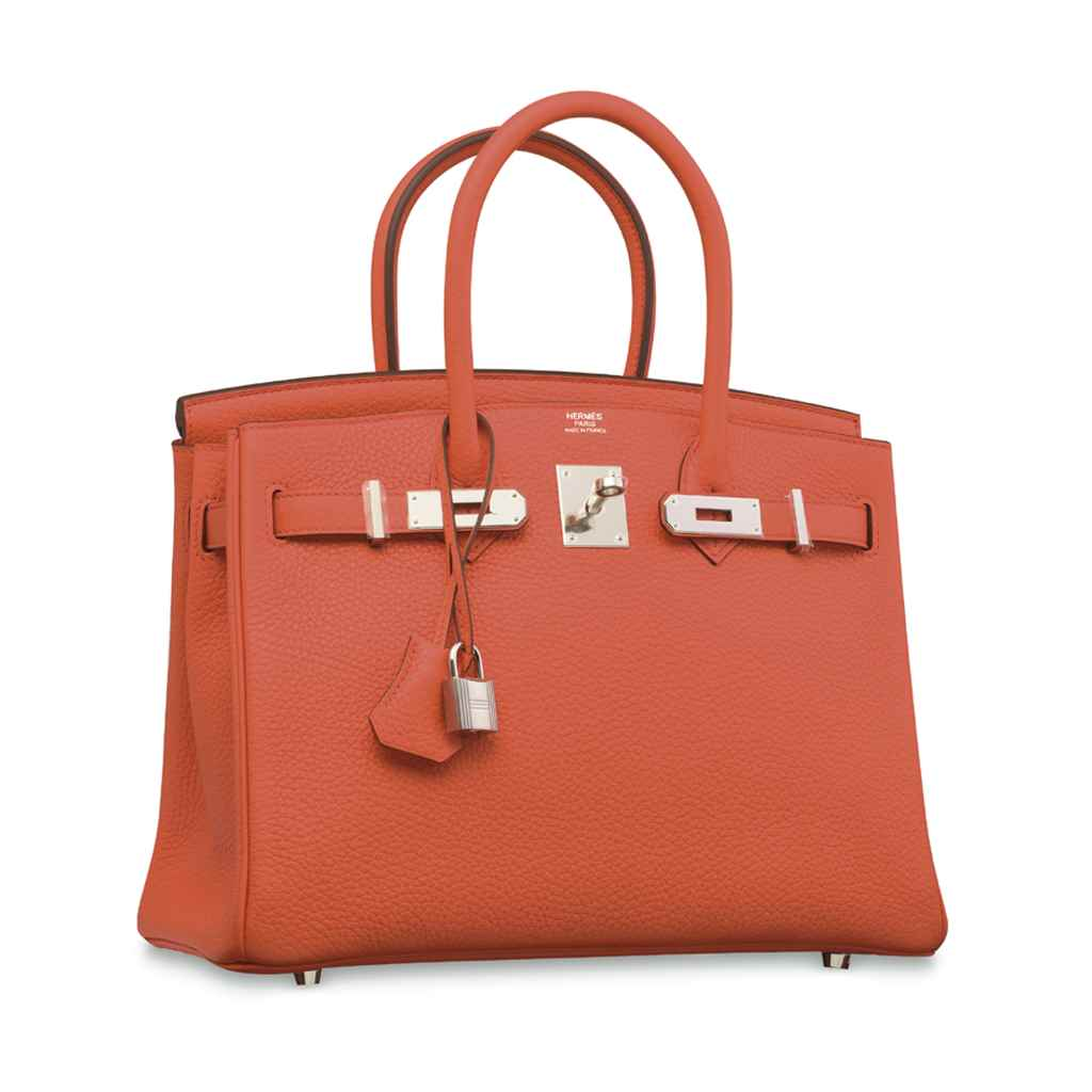 AN ORANGE CLÉMENCE LEATHER BIR