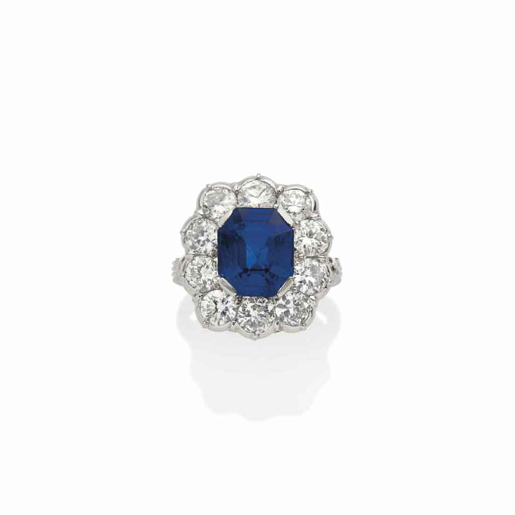 BAGUE SAPHIR ET DIAMANTS, PAR