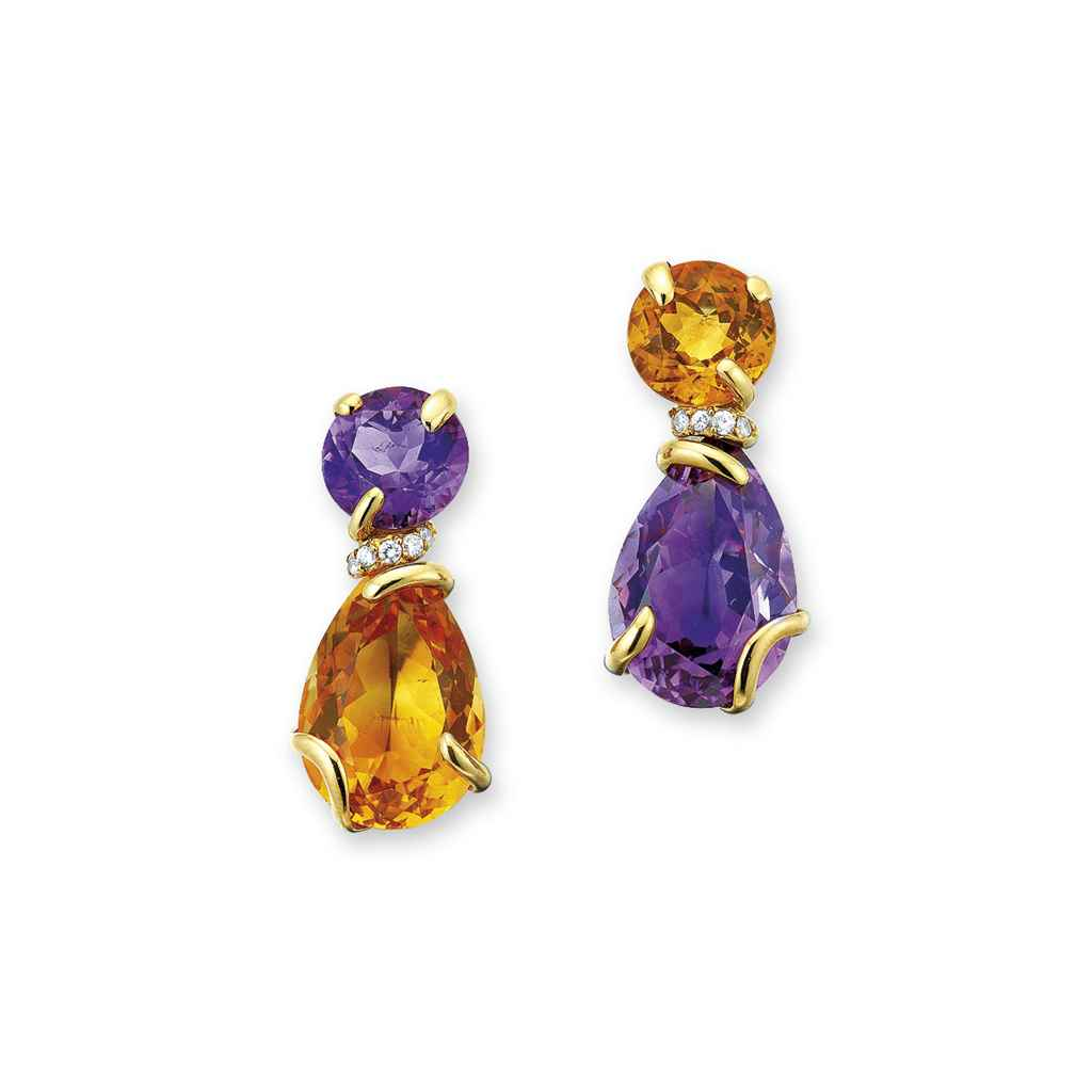 A PAIR OF MULTI-GEM EAR PENDAN