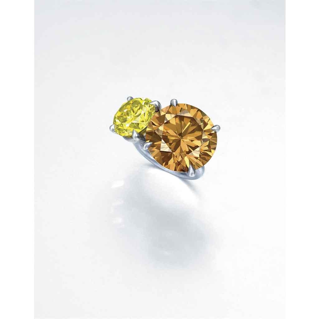 A UNIQUE COLOURED DIAMOND RING