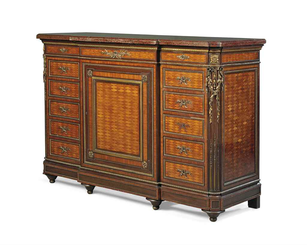 A french ormolu mounted mahogany and satine parquetry for Meuble for french furniture