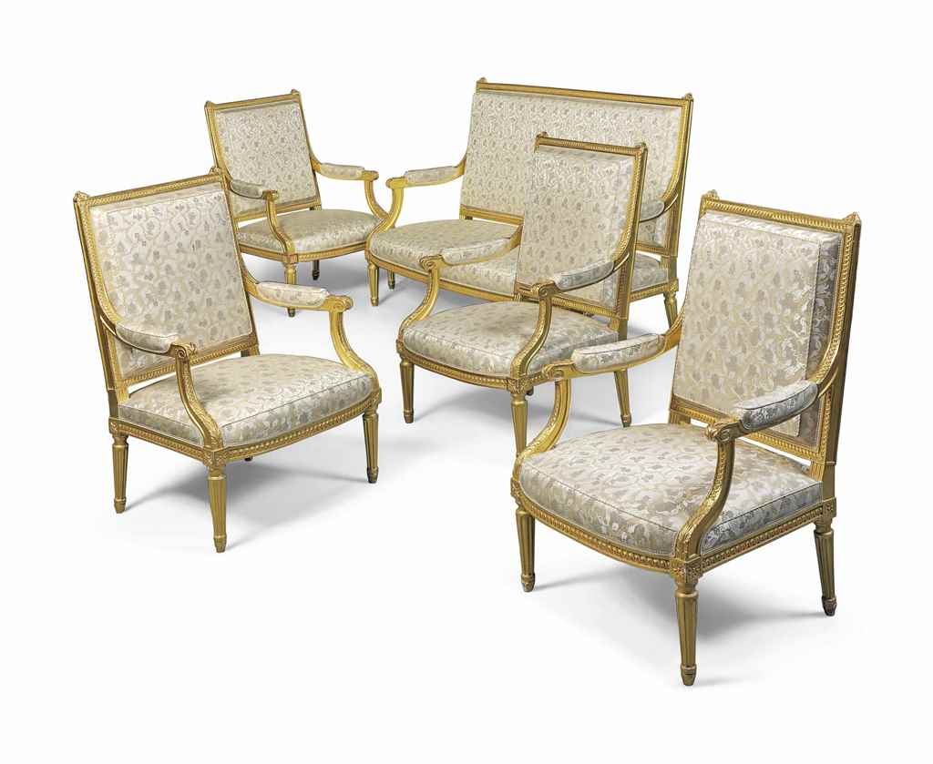 A FRENCH GILTWOOD FIVE-PIECE S