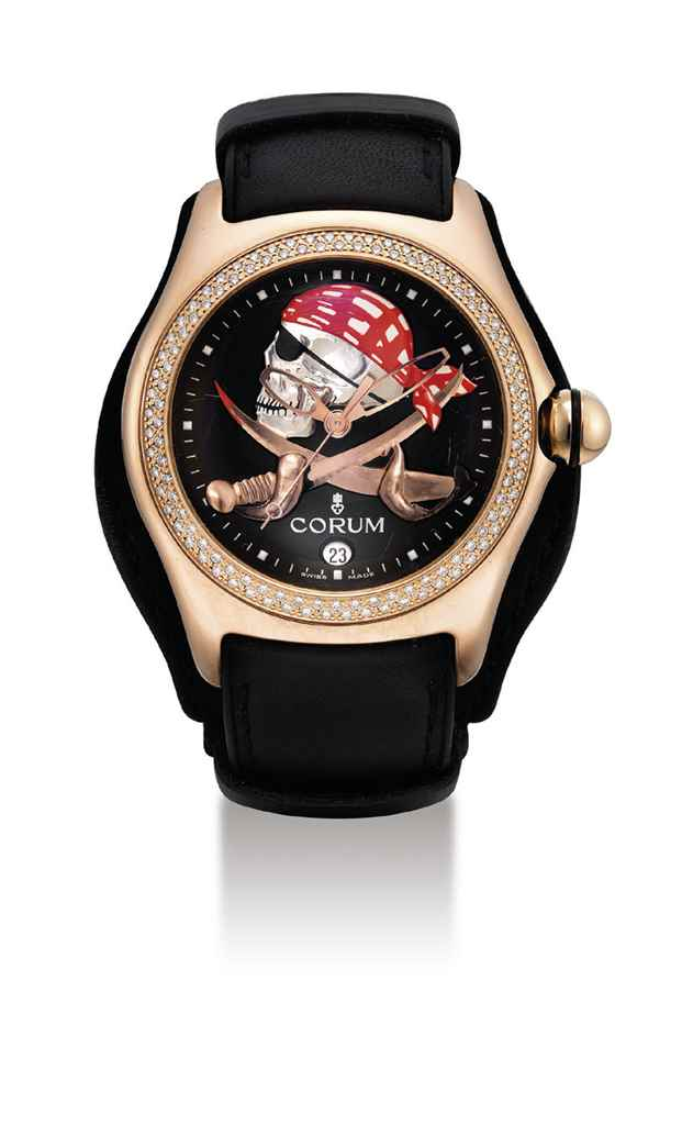 CORUM. AN 18K PINK GOLD AND DI