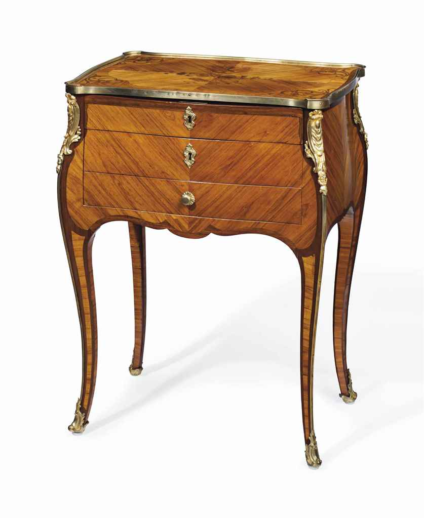 A louis xv ormolu mounted tulipwood amaranth and bois de - Table de chevet louis xv ...