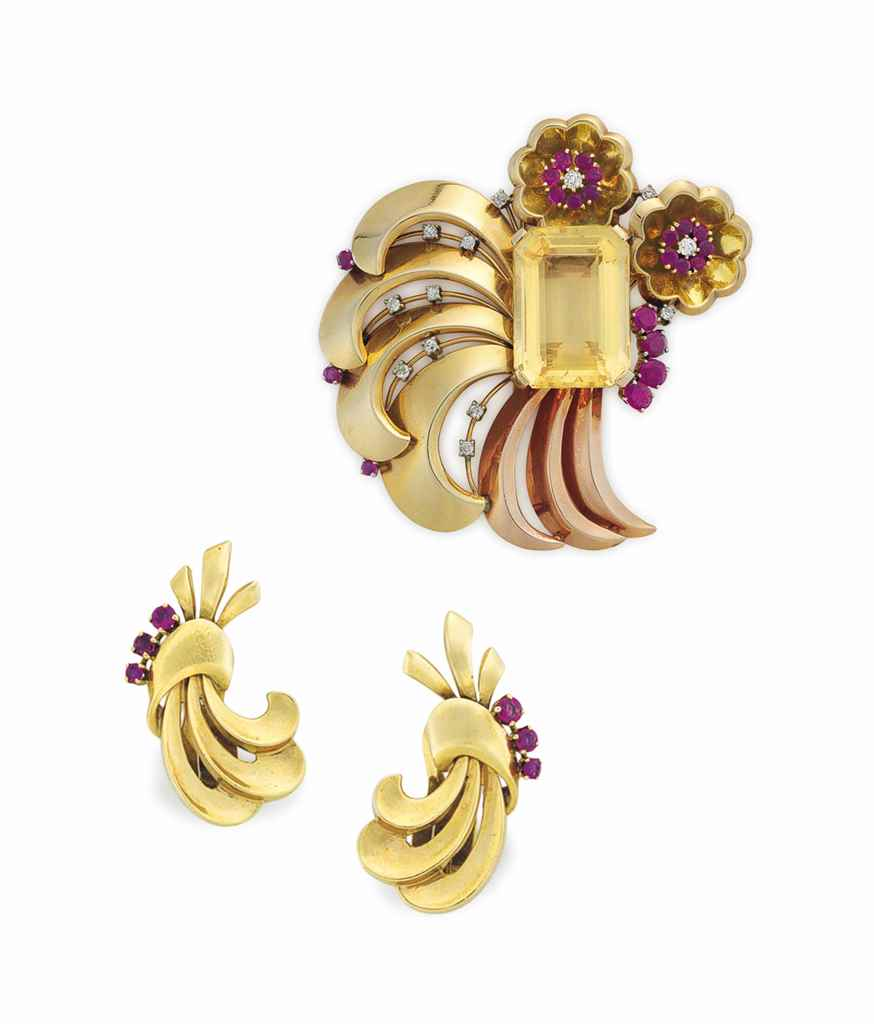 A SET OF RETRO CITRINE, RUBY, DIAMOND AND GOLD JEWELRY, BY P...