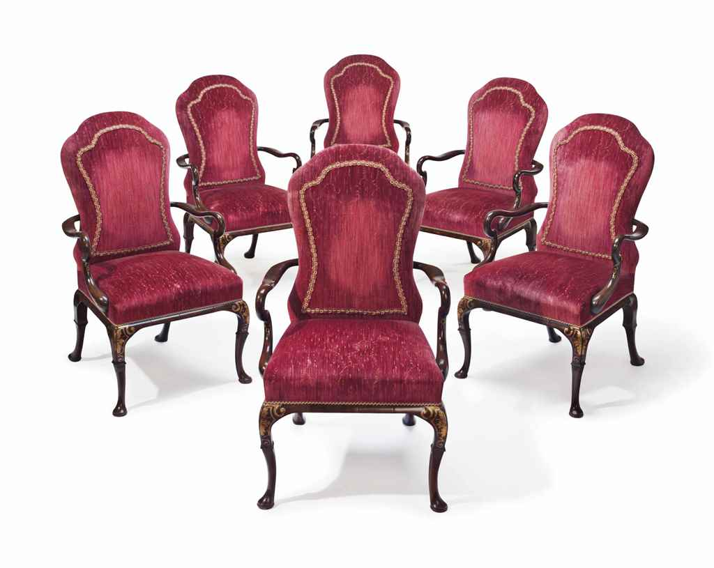 A set of six queen anne style parcel gilt mahogany for Queen anne style bedroom furniture