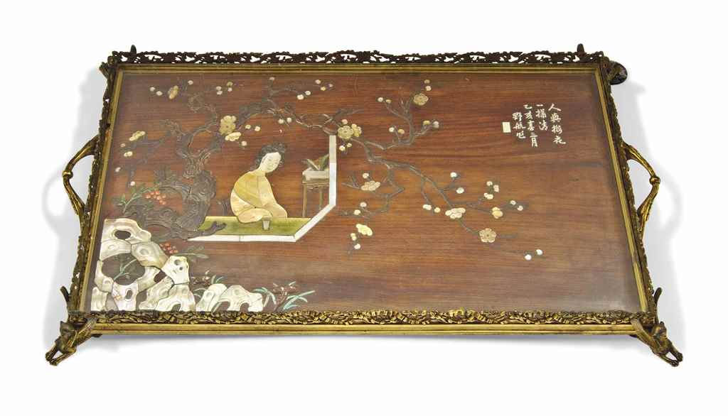 A CHINESE EMBELLISHED WOOD TRA