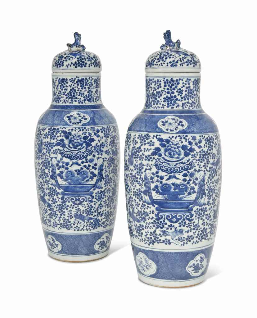 A PAIR OF TALL CHINESE BLUE AN