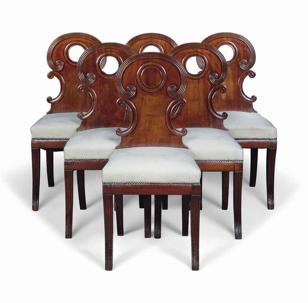 A SET OF SIX MAHOGANY SIDE CHA