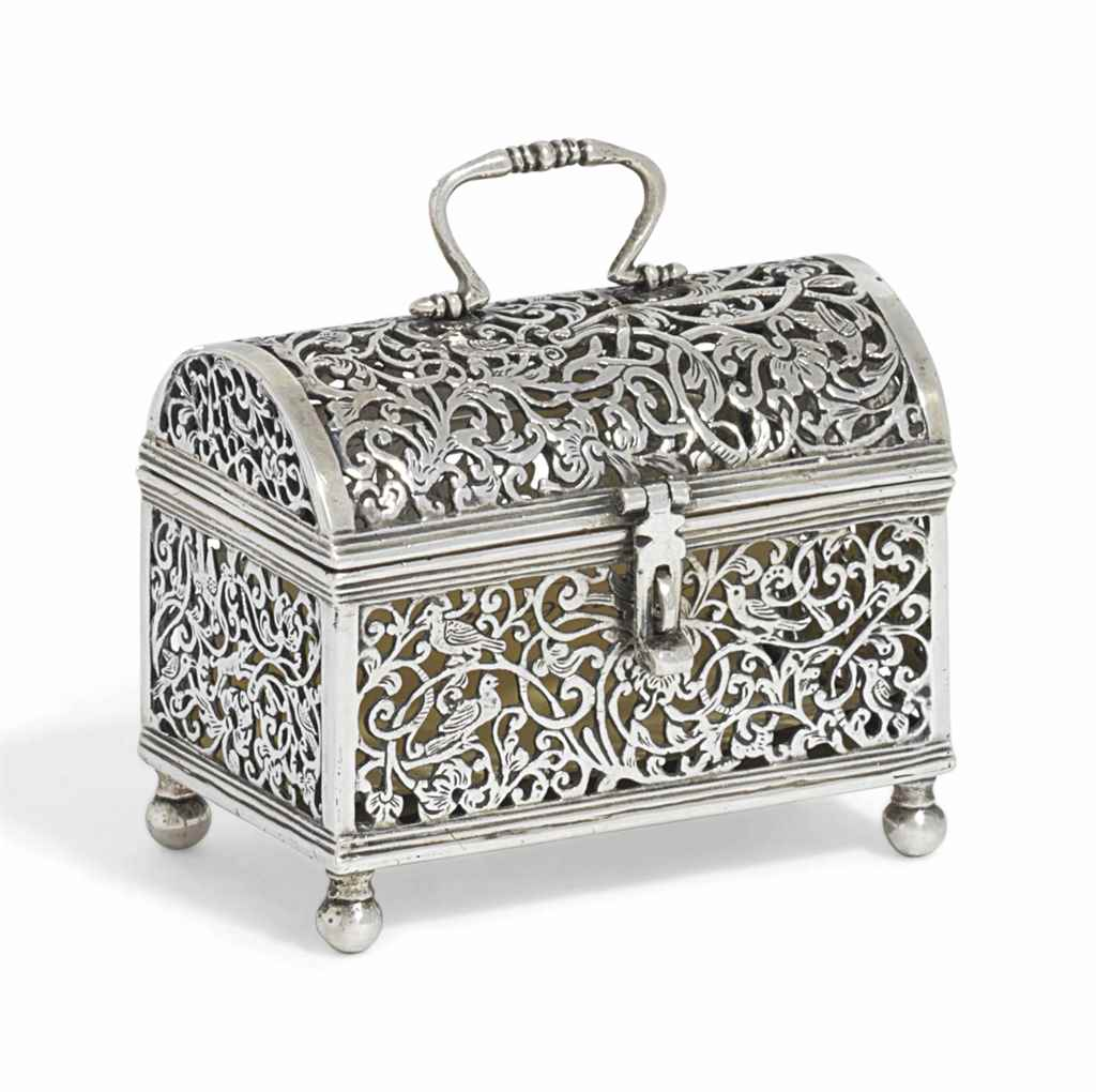 A DUTCH SILVER MARRIAGE CASKET