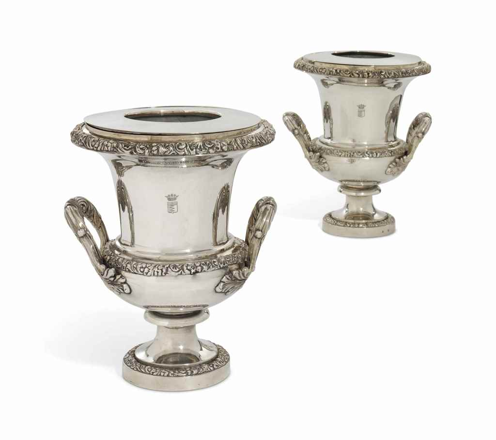 A PAIR OF BELGIAN SILVER WINE-