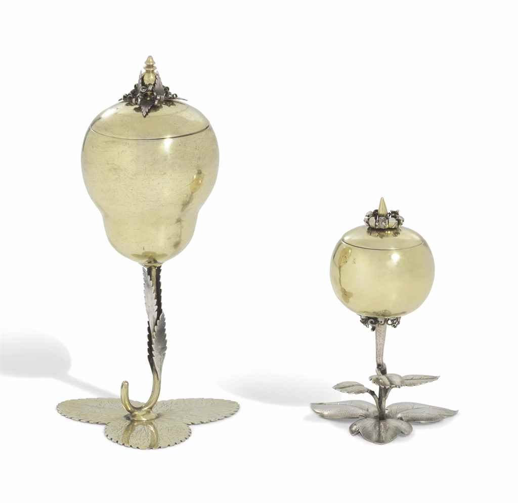 TWO GERMAN PARCEL-GILT SILVER