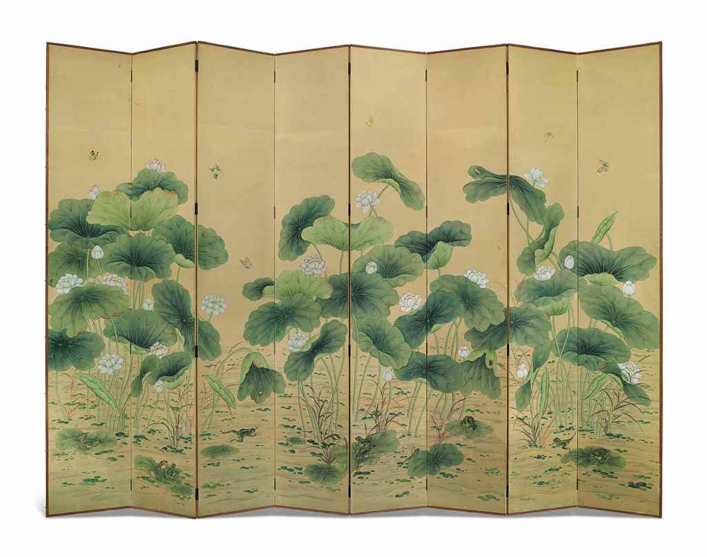 AN EIGHT-PANEL SCREEN