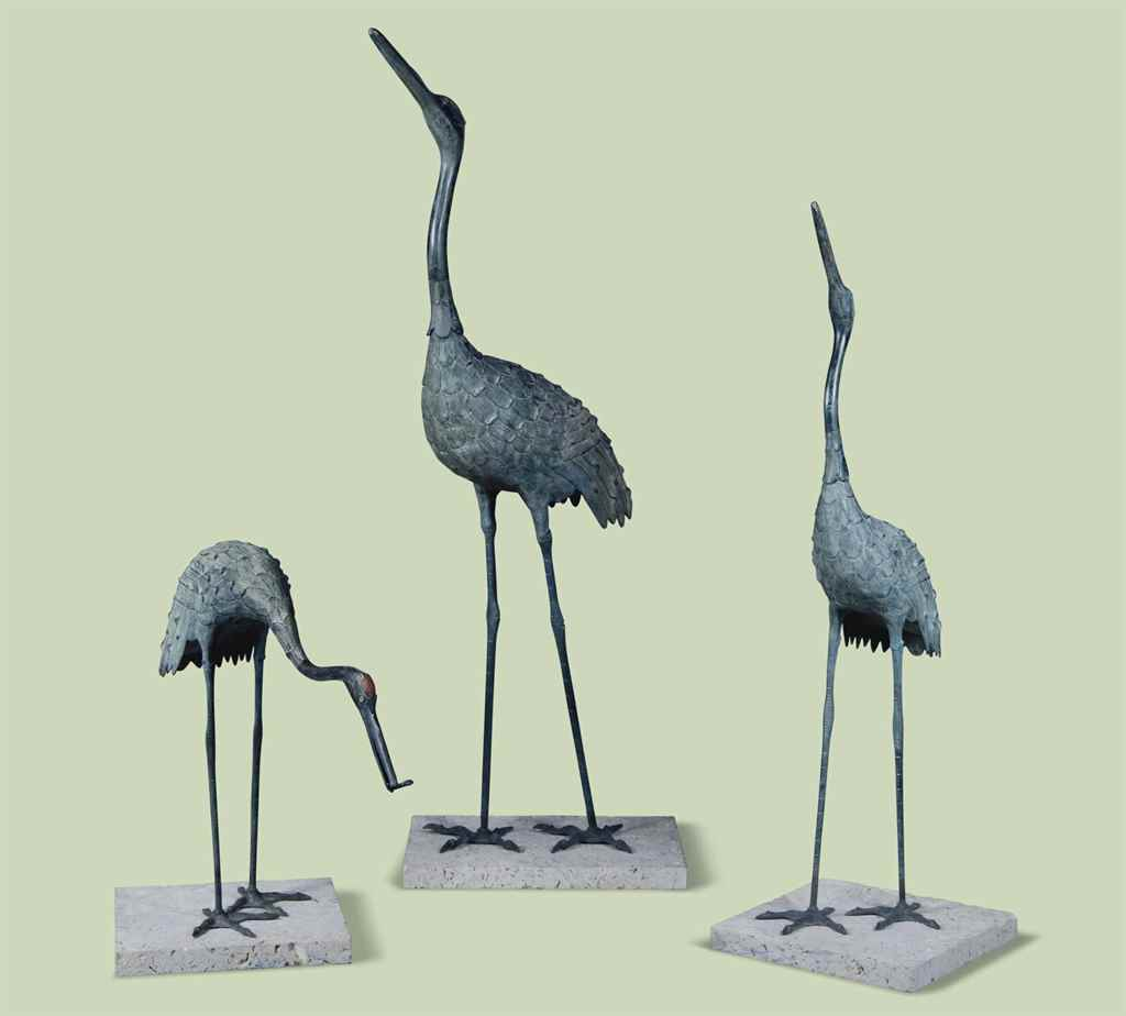 THREE JAPANESE BRONZE MODELS O
