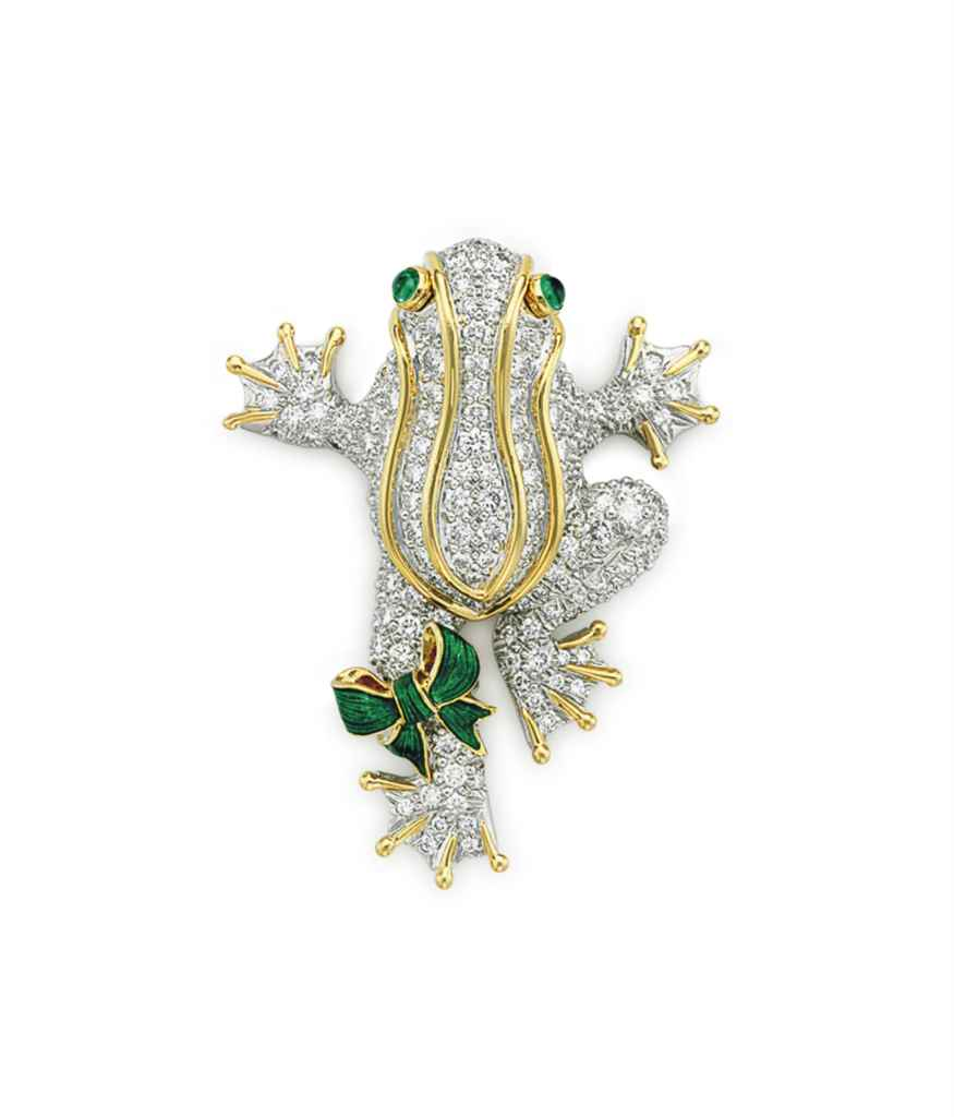 A DIAMOND AND ENAMEL FROG BROO